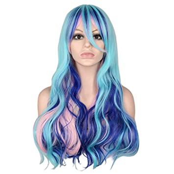 Amazon.com  Rainbow Colorful Long Curly Wig Cosplay Party Women 70Cm High  Temperature Synthetic Hair Wigs 263efe3f0