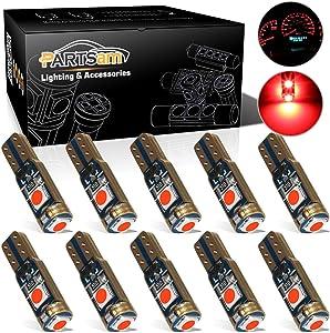 Partsam T5 73 74 Error Free Speedometer Indicator LED Light Kit Instrument Panel Gauge Cluster Dashboard LED Light Bulbs - Canbus/Red 10Pcs