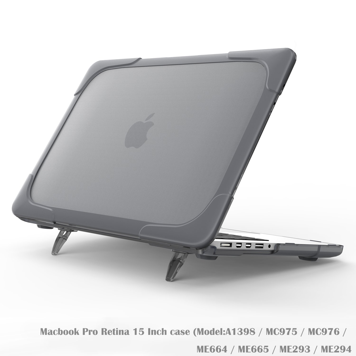 Wtiaw Compatible:Macbook Pro Retina 15 Inch case(NO CD-ROM,NO Touch Bar),[Heavy Duty] [Dual Layer] Hard Case Cover with breathe and cool itself freely TPU Bumper Cover (Model:A1398)-Gray