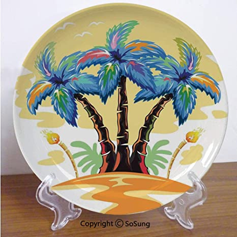 Palm Tree Decor 6 Ceramic Decorative Plate Cartoon Tropical Island With Hawaiian Palm Trees Torch Seagulls At Sunset Blue Orange For Living Room Bedroom Hallway Console Side Table Decor Home Kitchen