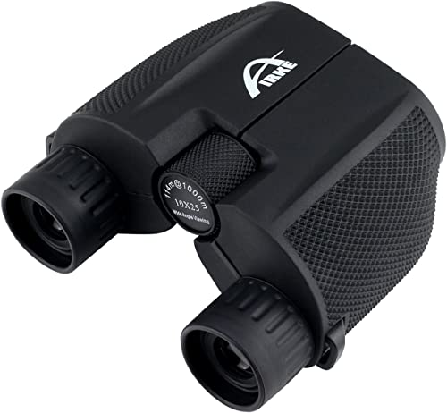 Airke 10×25 Folding High Powered Binoculars with Weak Light Night Vision Clear Bird Watching Great for Outdoor Sports Games and Concerts Binocular