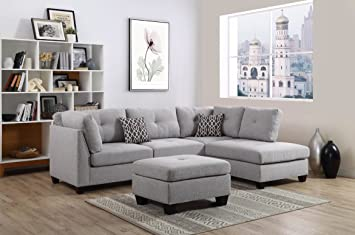 Amazon.com: Bliss Brands Sectional Sofa Set with Reversible Chaise ...