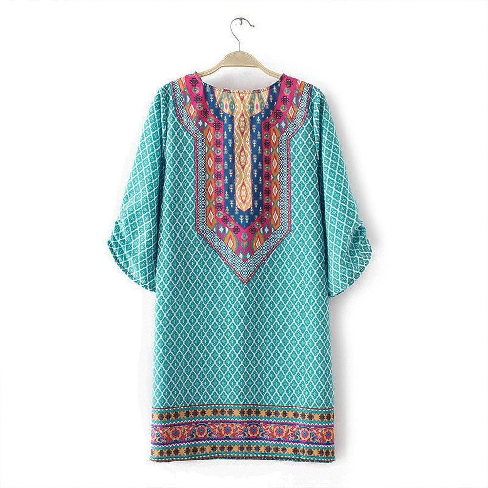 Women Bohemian Neck Tie Vintage Printed Ethnic Style Summer Shift Dress,Top,Vintage Dresses MILIMIEYIK Blouse Boho Dress