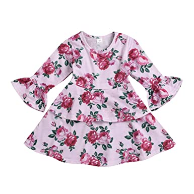 4ec16b4a4b93 Amazon.com  GorNorriss Baby Dress Toddler Infant Girls Floral Flowers  Ruffles Princess Dresses Pink  Clothing