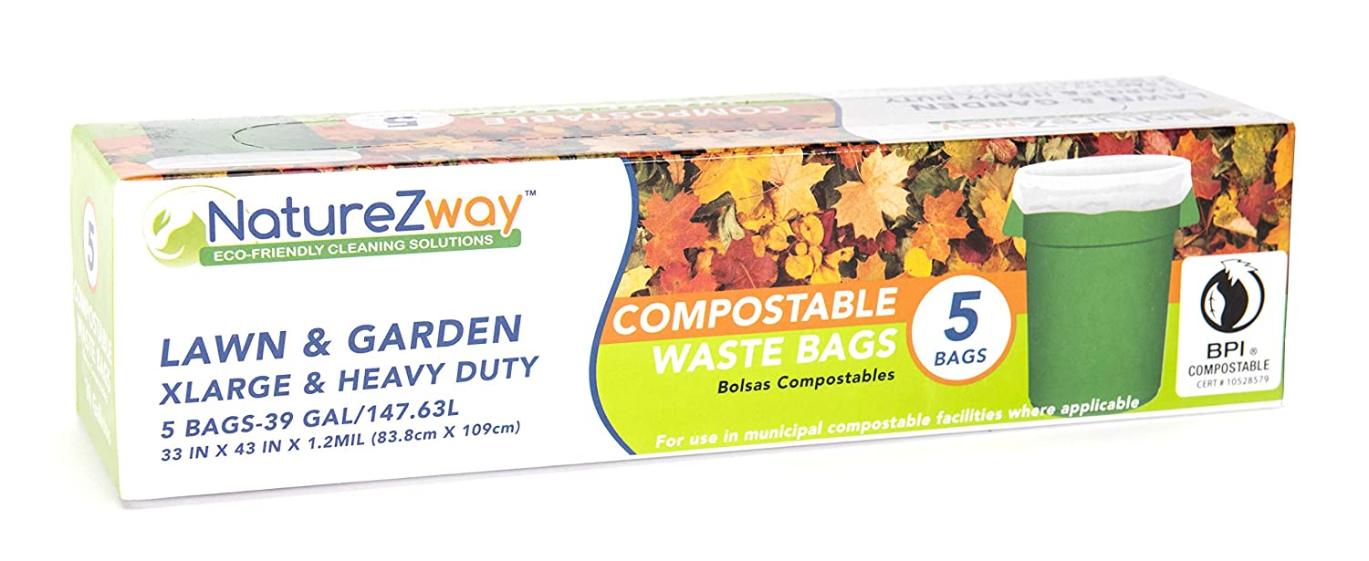 Compostable & Biodegradable Lawn & Garden Waste Bags | Leaf, Grass, Garbage | BPI Certified | Leak & Odor Control | Strong & Durable | Extra Large, 39 ...