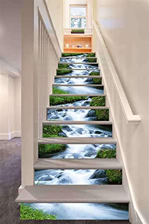 Ltdm 3d stairs stickers originality waterfall landscape 1set 6pcs diy self adhesive stairs decals