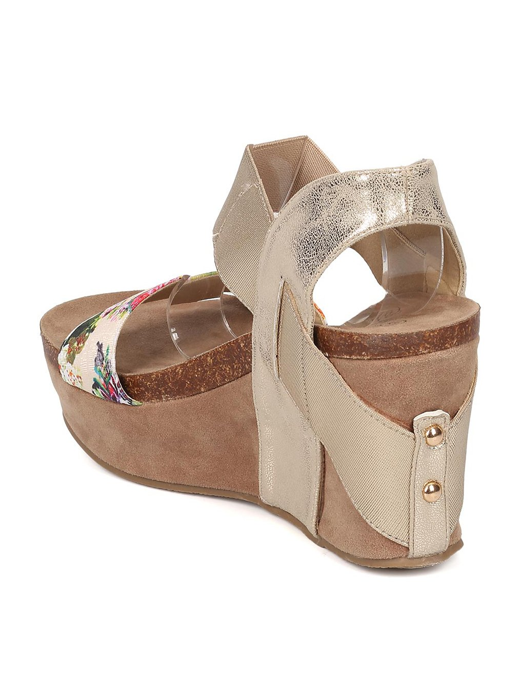 Heartthentic Floral Tricia-10 Women Mixed Media Floral Heartthentic Platform Wedge Sandal HA98 B072PV92G1 6 M US|Light Gold Mix Media 2969e9