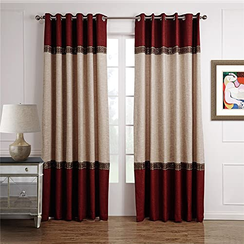 Dreaming Casa 1 Panel Grommet Top Solid Polyester Window Curtain Treatment Beige Burgundy Two Tone 52″ W x 96″ L