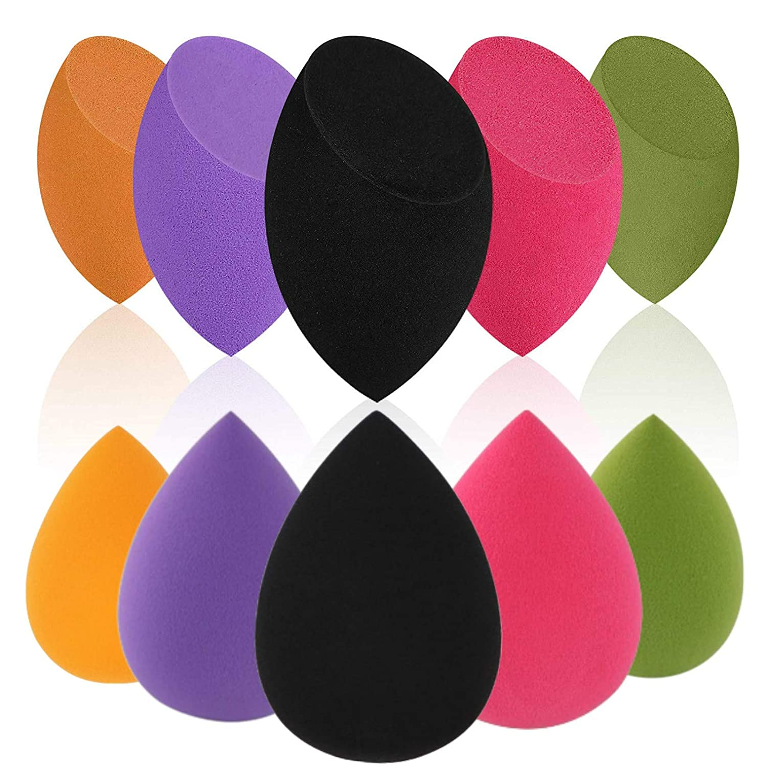 10 Pcs Beauty Makeup Sponge Blender Set Latex Free Foundation Blending for Liquid, Cream and Powders