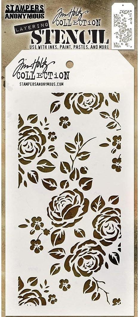 Tim Holtz Layered Stencil 4.125X8.5-Roses