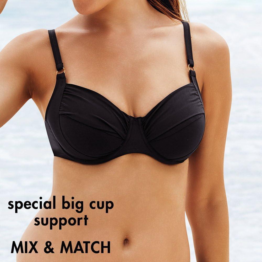 38H//Black 8733 RosaFaia Island Hopping Twiggy Underwire Bikini Swim Top