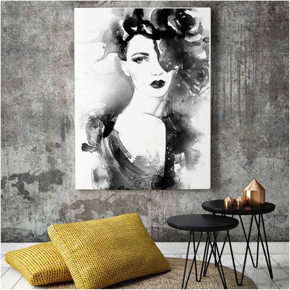 czjungbf Pintura de Mujer en Blanco y Negro Cuadro de Cara de Mujer de Acuarela Pintura de Pared de Arte Pintura Sala de Estar decoración de Dormitorio póster -50x70 cm Sin Marco