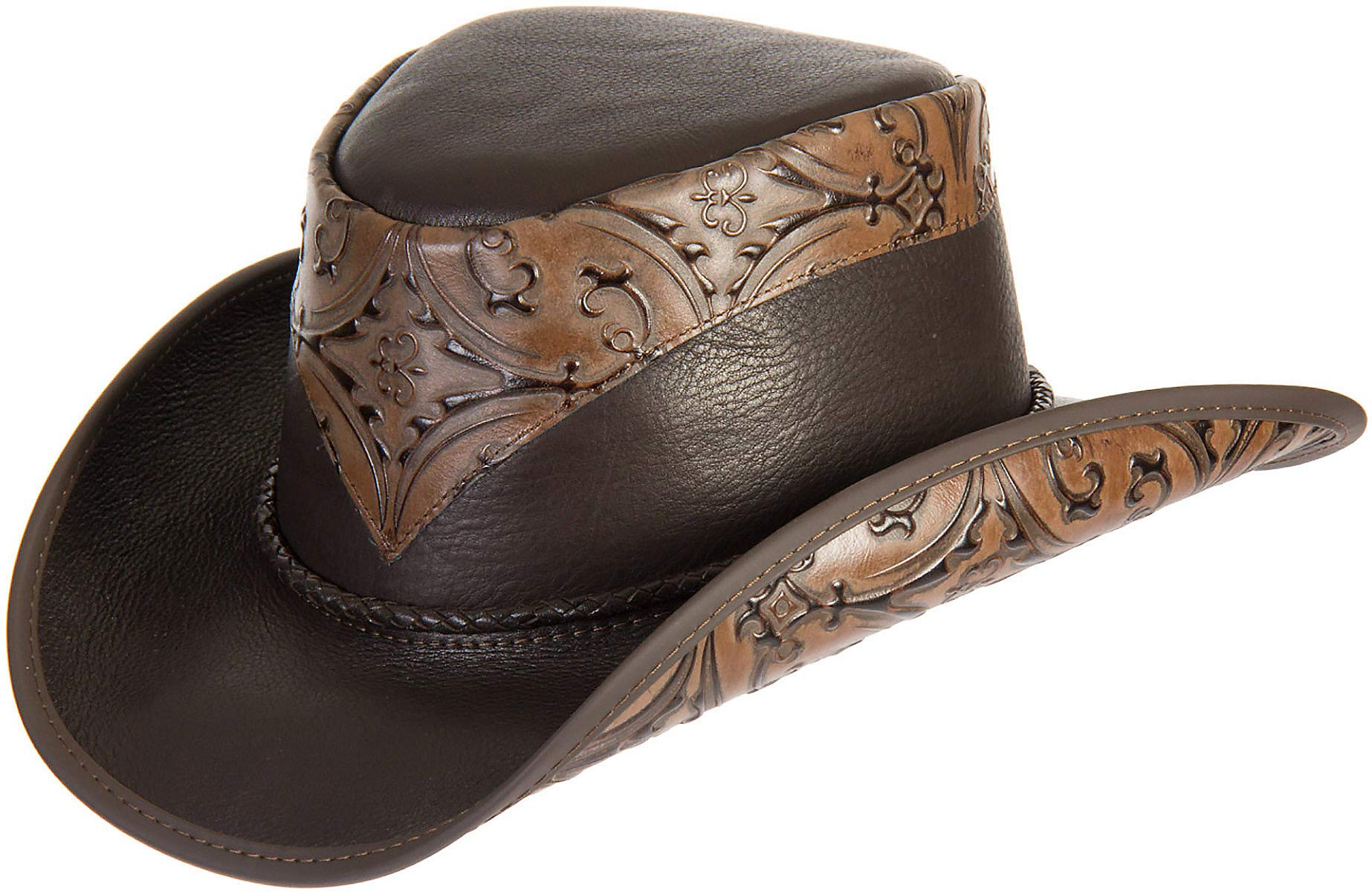 Falcon Hand-Tooled Leather Cowboy Hat Brown
