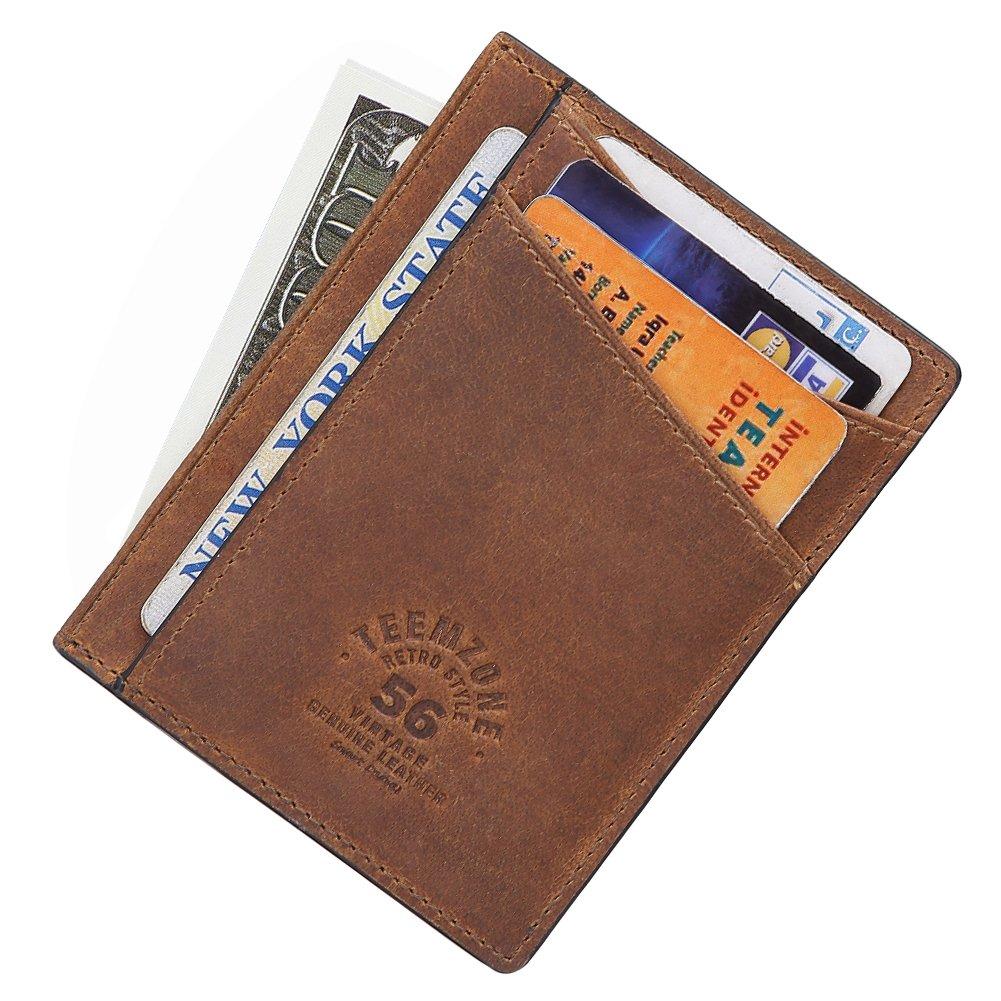 Teemzone Minimalist RFID Slim Wallet Genuine Leather Pocket Credit Card Case Holder (Black) K3741001000ca