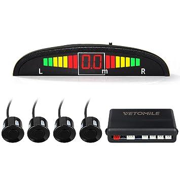 VETOMILE Detector de Radar Sistema de Aparcamiento con 4 Sensores de Coche, Sensor Aparcamiento con Alarma Sonido y Pantalla LED de Visión Marcha ...