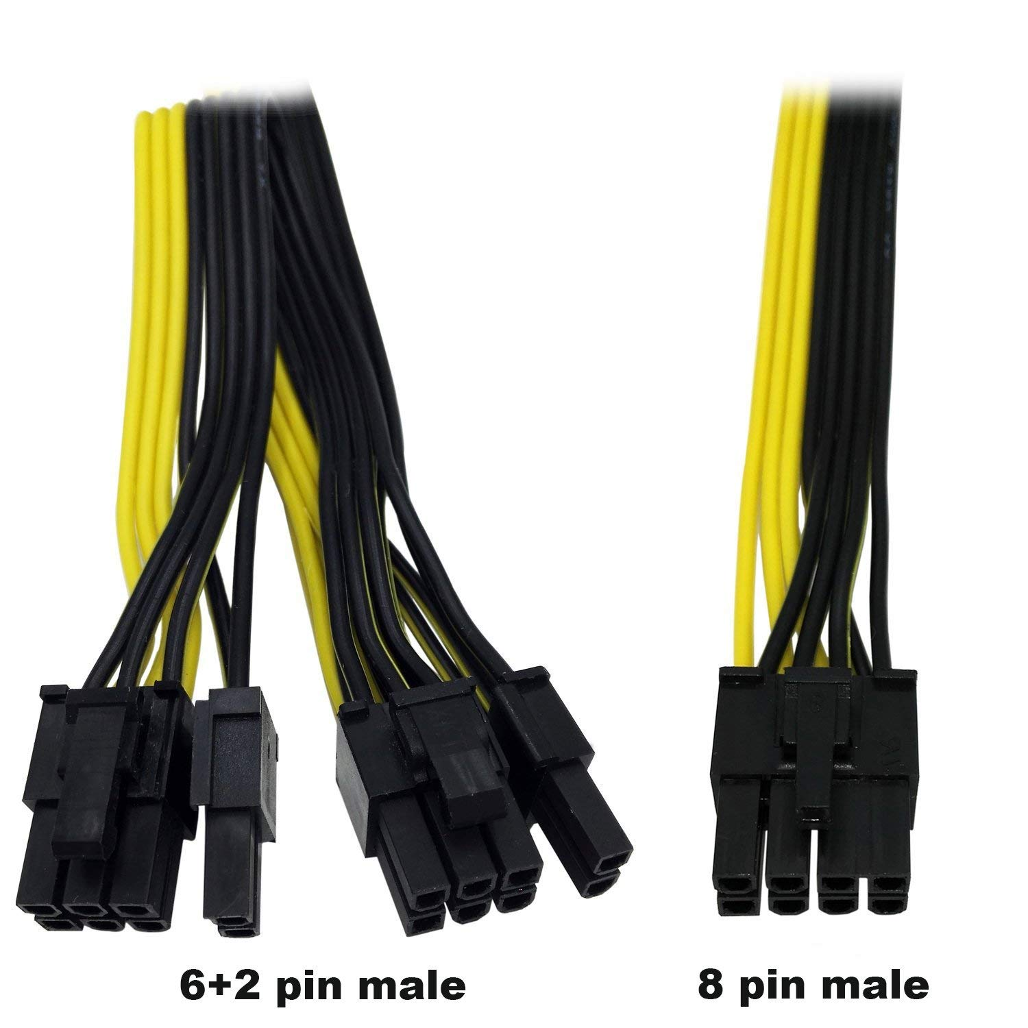 6+2 male PCI Express Power Adapter Cable Modular Power Supply Cable for Graphics Video Card 8 pin splitter 24+8inches TeamProfitcom PCIE 8 Pin male to Dual 8 Pin