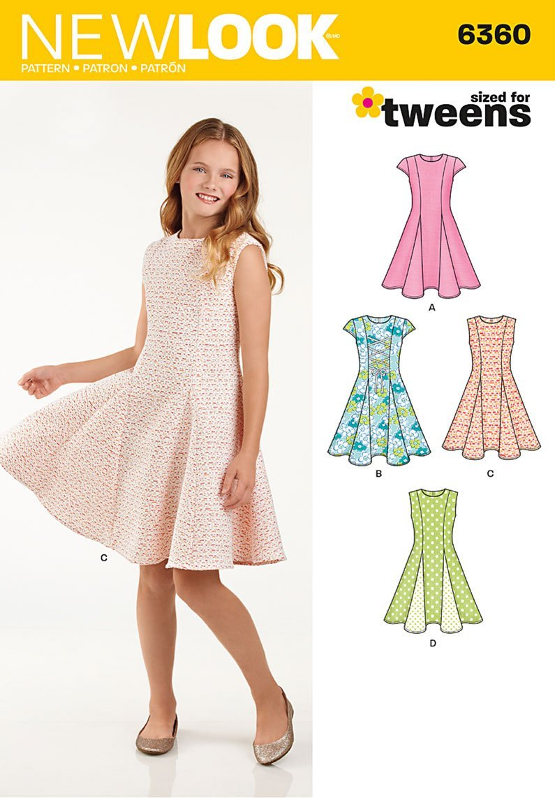 A Simplicity Vintage New Look Patterns UN6360A Girls Sized for Tweens Dress 8-10-12-14-16