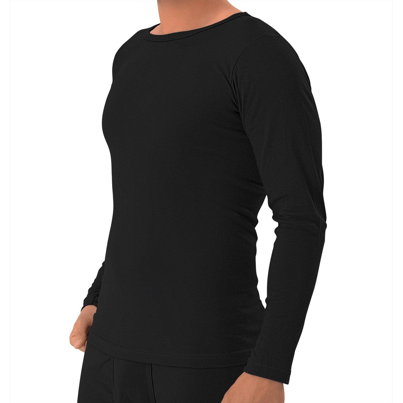 Celodoro Herren Feinripp Langarmshirt in 3 Rundhalsausschnitt - 100% gekämmte Baumwolle, Unifarben - original Exclusive