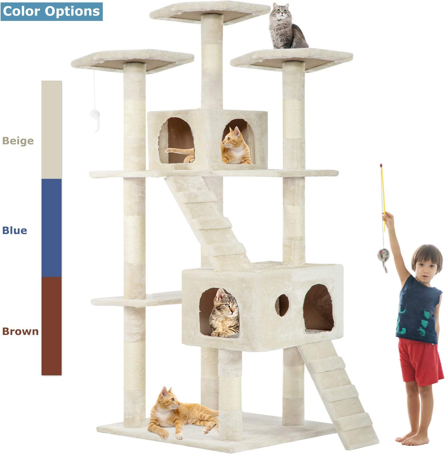 BestPet Cat Tree Cat Tower Cat Condo 72 inches Tall Multi-Level Playpen House Kitty Activity Tree Center with Funny Toys,Multiple Colors