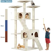 BestPet Cat Tree Cat Tower Cat Condo 57-72 inches Tall Multi-Level Playpen House Kitty Activity Tree Center with Funny Toys