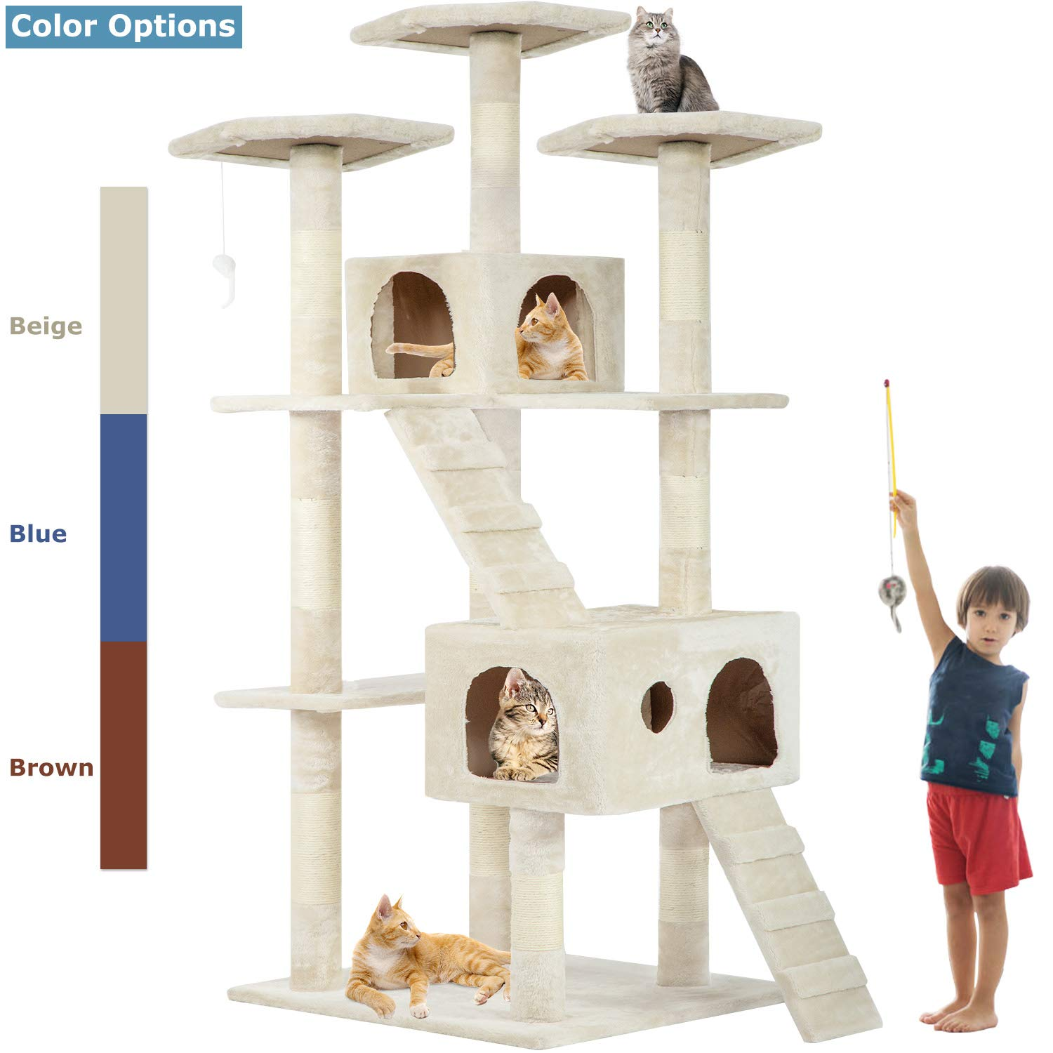 Beige 72'' Cat Tree Scratcher Play House Condo Furniture Bed Post Pet House by BestPet