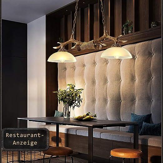 ZMH - Lámpara de techo de estilo rústico para mesa de comedor, bola de cristal y resina: Amazon.es: Iluminación
