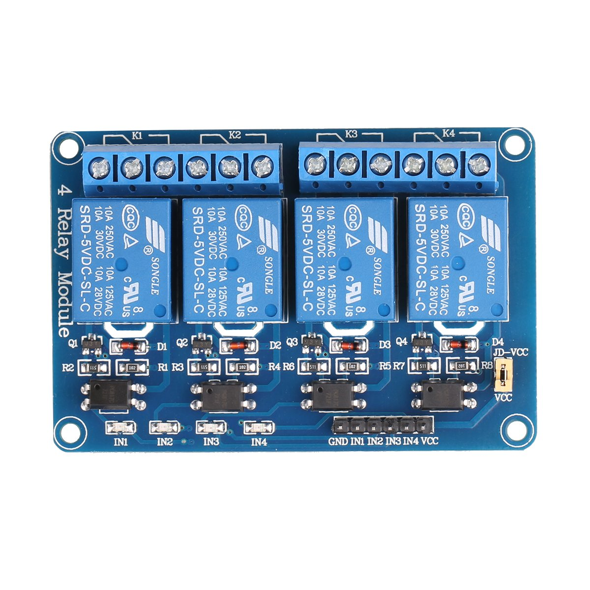 Jbtek 4 Channel Dc 5v Relay Module For Arduino Raspberry Electric Cost Pi Dsp Avr Pic Arm Computers Accessories