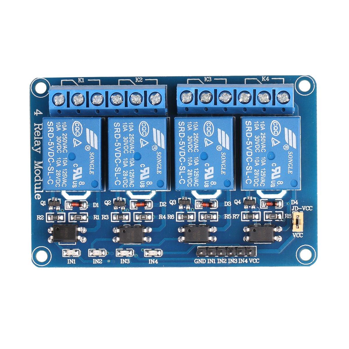 Relay Board To Arduino Jbtek 4 Channel Dc 5v Module For Raspberry Pi Dsp Avr Pic Arm