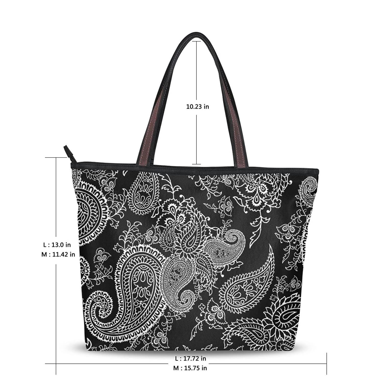 Women Large Tote Top Handle Shoulder Bags Retor Paisley Ladies Handbag