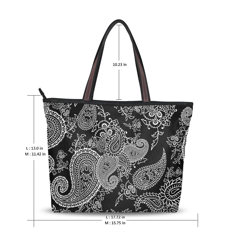 Women Large Tote Top Handle Shoulder Bags Retor Paisley Ladies Handbag