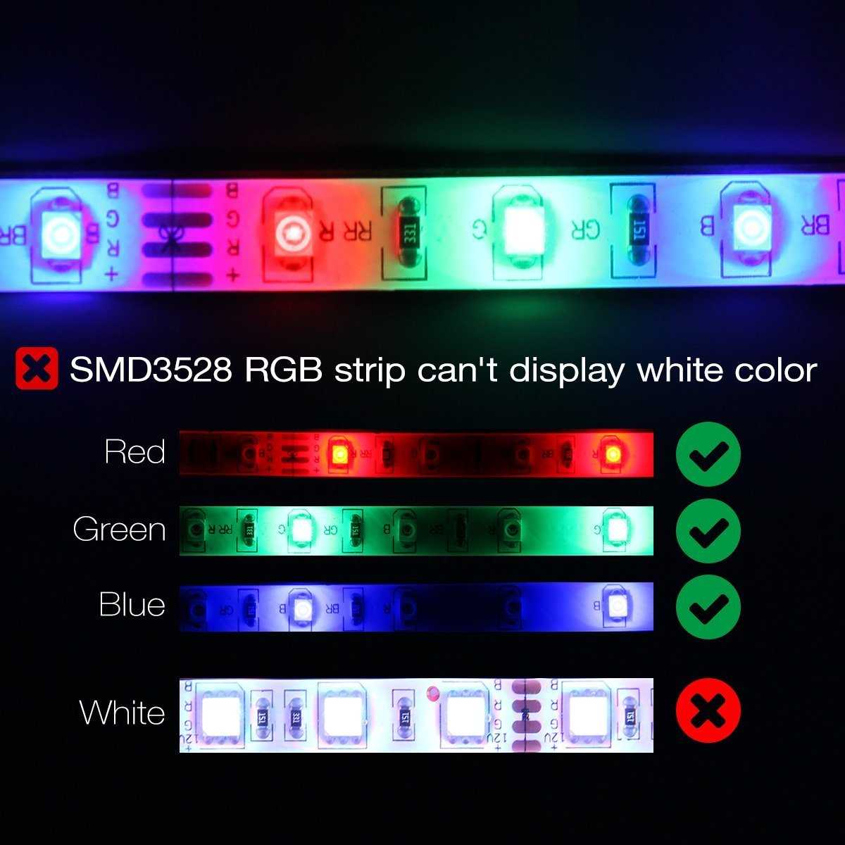 300leds 60leds//m Flexible Color Changing RGB 12V SMD3528 LED Tape Light Kit with RF Remote and Power Supply SPARKE LED Strip Lights Non-Waterproof 16.4 Ft 5M