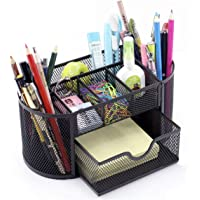 Minima 9 Compartments Desk Home Office Organiser Caddy Oval Shaped with Drawer