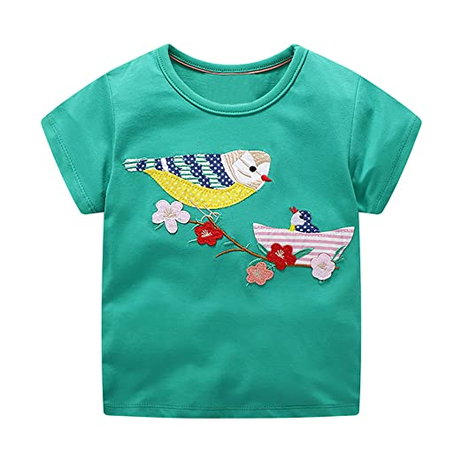 dcc8dac09 DYW Toddler Girls Short Sleeve T-Shirt Round Neck Cute Graphic Cotton Tees 2 -