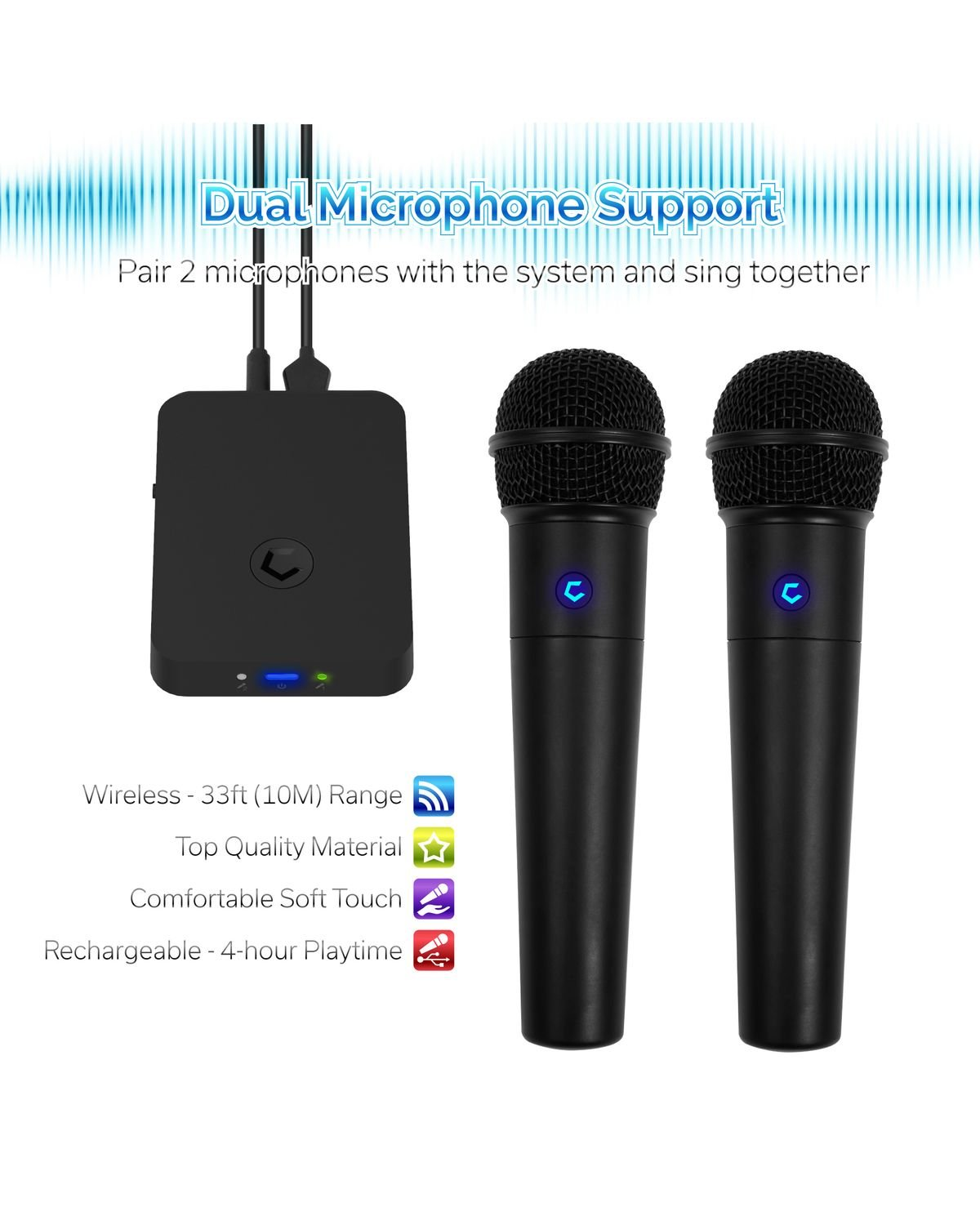Cobble Pro Wireless Karaoke Microphone 2-pack Mic [Source Vocal Removal Technology][Choose Unlimited Music Source from YouTube, Compatible with iPhone iPad Phone Tablet] New Model BT Speaker Machine by Cobble (Image #5)