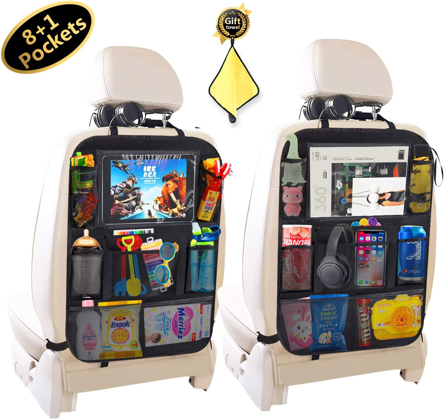 Car BackSeat Organizer,10Tablet Holder+9 Storage Pockets Kick Mat,Car Seat Back Protectors for Kids Drink Toy Diaper,Organizers for Van SUV,Car Accessories for Kids /&Toddlers 2 Pack 8+1 pockets