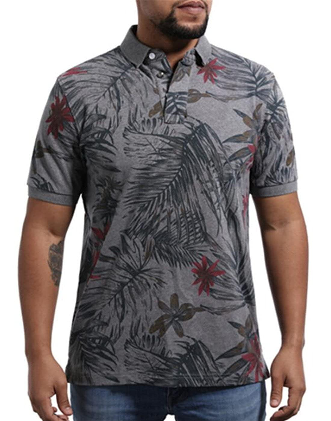 BYWX-Men Classic Fit Floral Short Sleeve Light Weight Polo Shirts