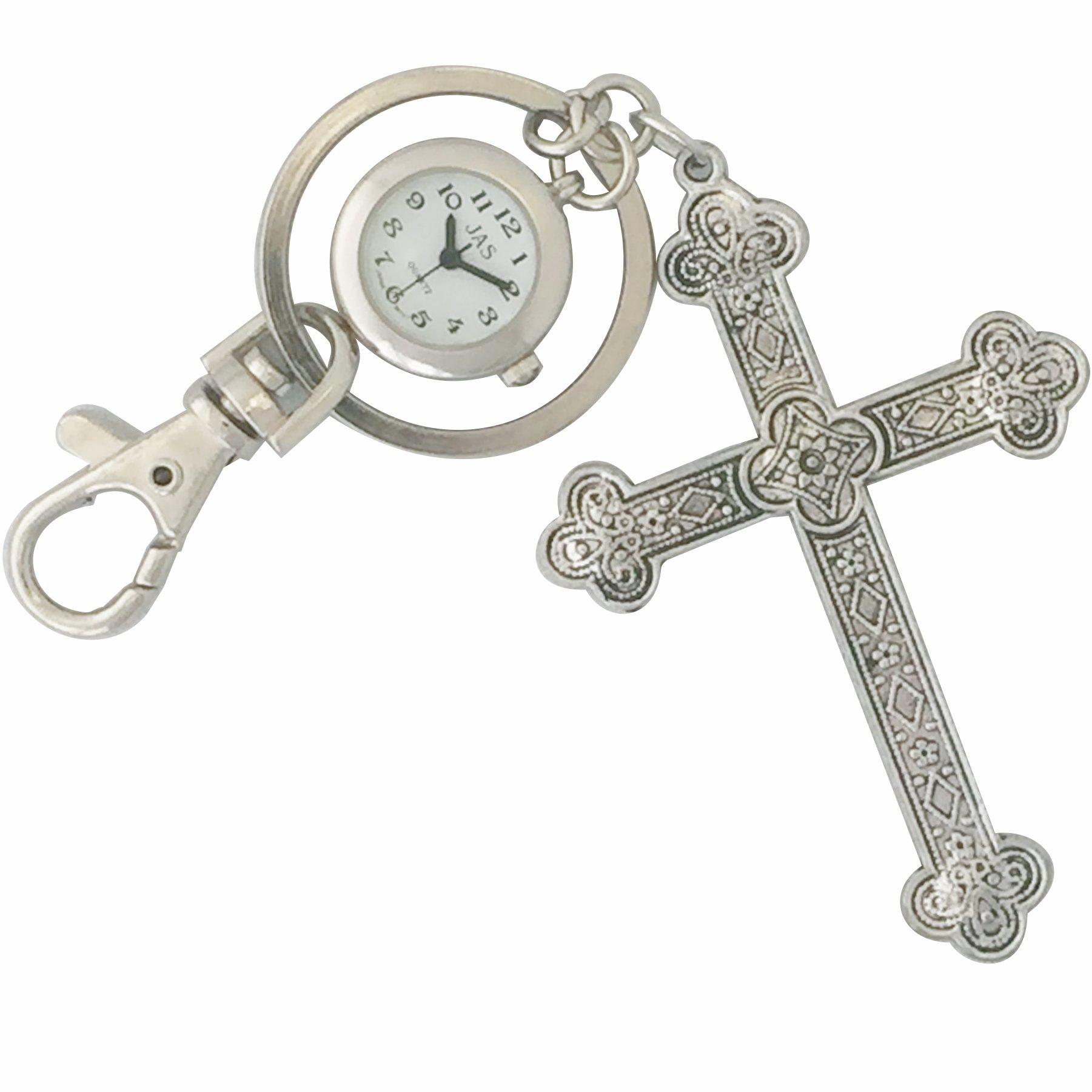 Keychain / Charm Watch - Silver Cross