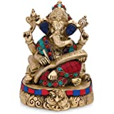 Collectible India Shubh Labh Writing Ganesha Brass Idol Lord Hindu Success God Ganesha Statue- Hindu wedding God Ganesh Art