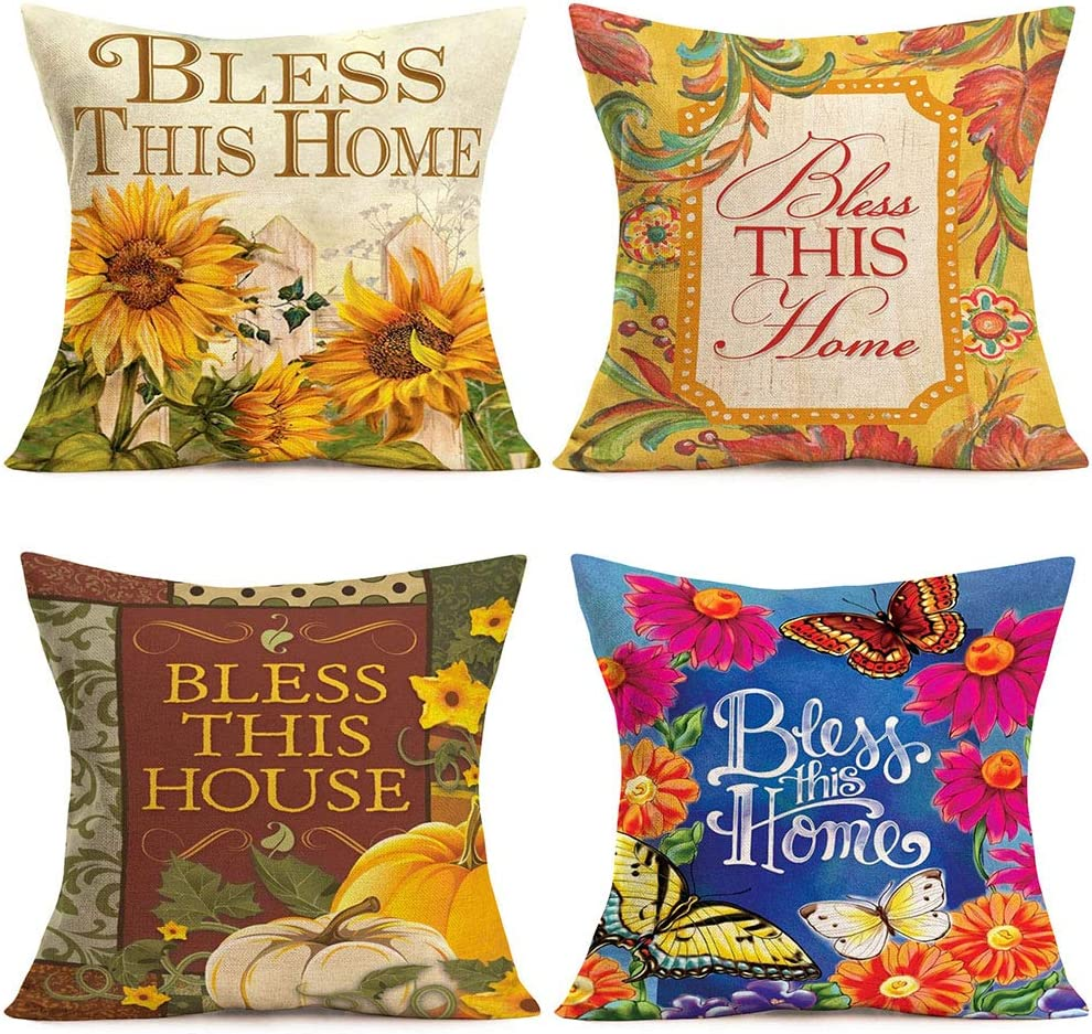 "MEHOTOP 18""x18"" Cotton Linen Throw Pillow Covers Bless This Home House Inspirational Quote Sunflower Butterfly Pumpkin Fall Maple Leaf Flower Blossom Fence Farmhouse Set of 4 Cushion Case Decorative"