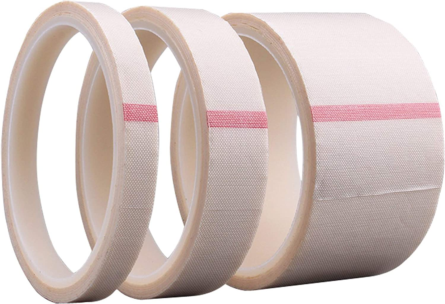 PTFE Coated Fiberglass Adhesive Teflon Tape,high Temperature Tape for Vacuum, Hand and Impulse Sealers;Drying Mechanical Conveyor Belt, Thickness 0.13mm,Length 10m (20mm X 11yards X 0.13mm(White))