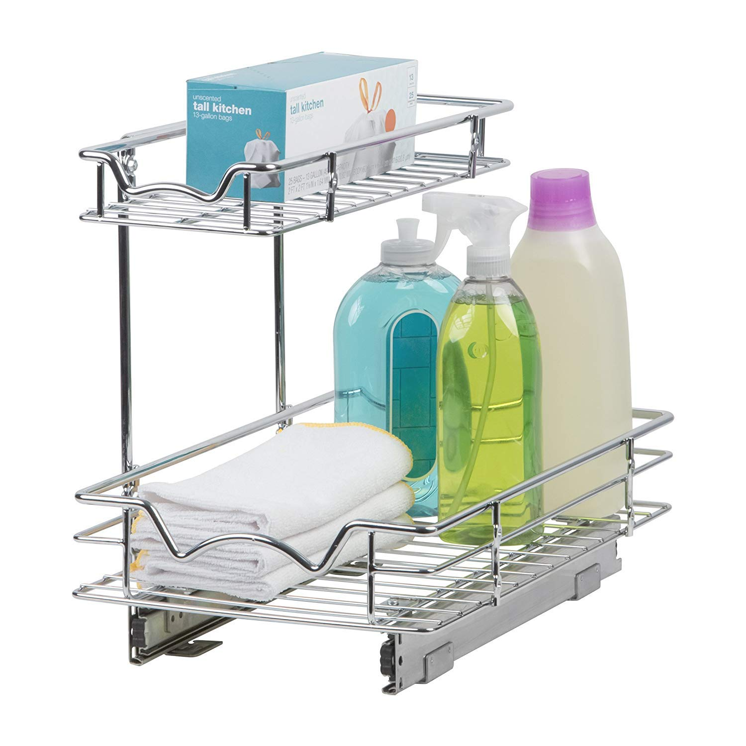 Slide Out Cabinet Organizer - 11''W x 18''D x 14-1/2''H, Requires At Least 12'' Cabinet Opening - Kitchen Cabinet Pull Out Two Tier Roll Out Sliding Shelves & Storage Organizer for Extra Storage by Richards Homewares