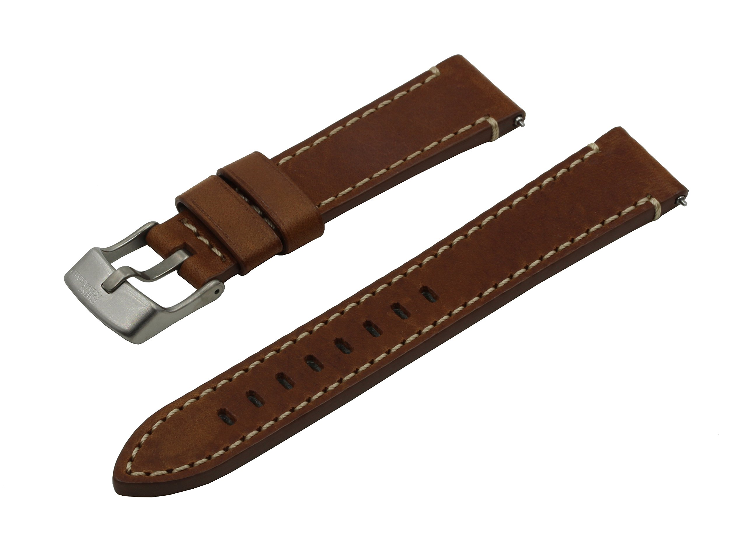 SWISS REIMAGINED 5 Colors Quick Release Quality Genuine Leather Hypoallergenic Watch Band Strap - Choice of Width - 17mm, 18mm, 19mm, 20mm, 21mm, 22mm or 24mm (Choose Size) - Cognac