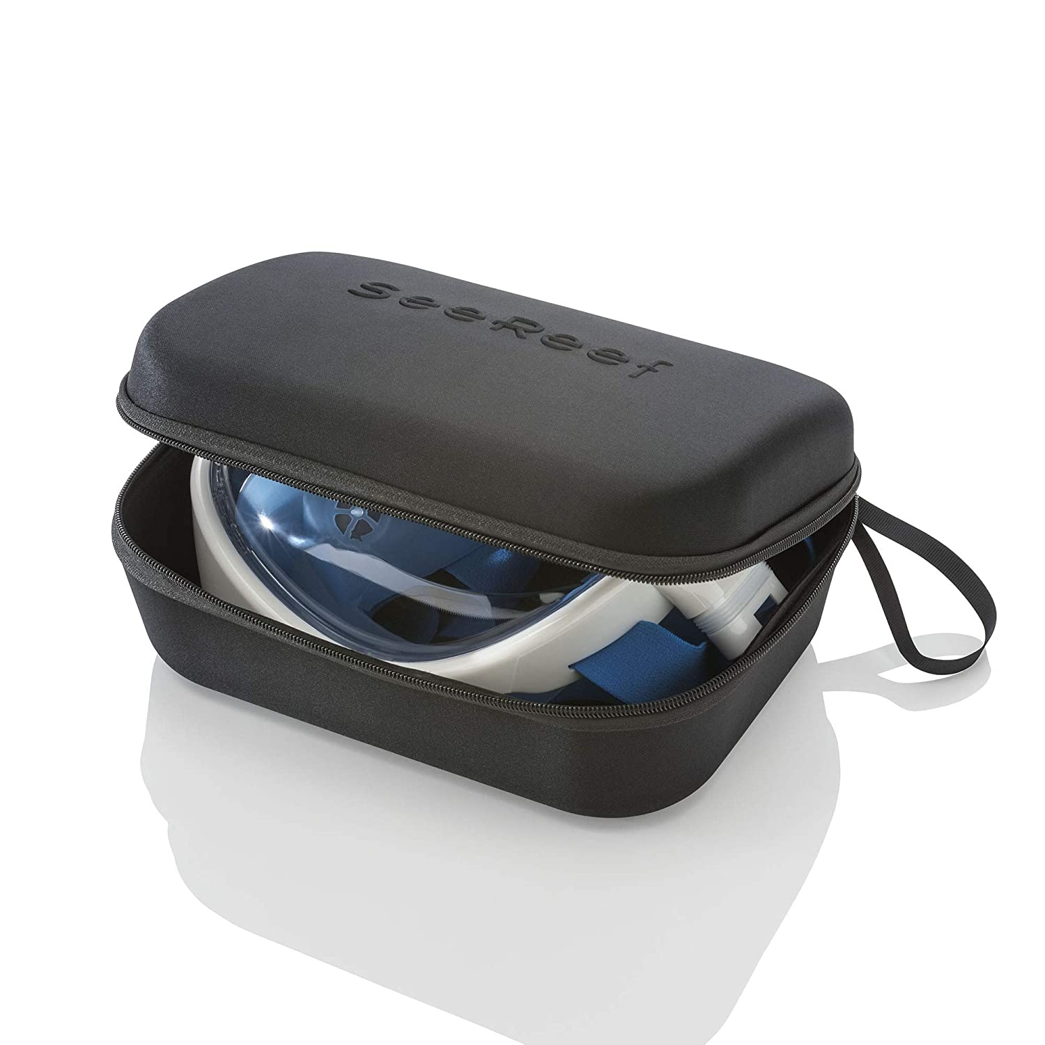 Snorkeling Mask Set New Design With Hard Carry Case See 180 Degrees Underwater with New 4 Valve Anti Fog Technology Breathe Easy SeeReef Full Face Snorkel