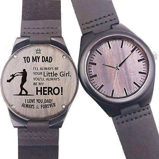 Reloj de Madera Grabado Personalizado, Casual Hecho a Mano, Reloj de Madera para Hombres y Mujeres, Amigas Familiares, Regalo Personalizado: Amazon.es: ...