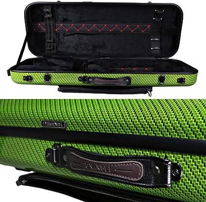 Tonareli Viola - Funda rectangular de fibra de vidrio para VAFO 1006 (incluye bolsa de música, ajustable a más de 45 cm), color verde: Amazon.es: Instrumentos musicales