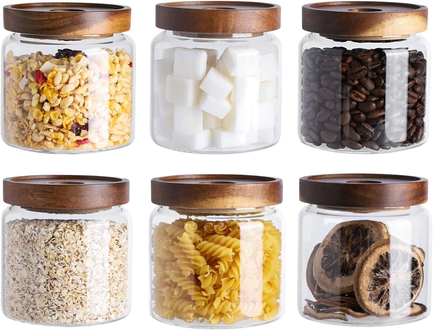 Kanwone Glass Storage Jars Set of 6, 17 Ounce Food Storage Containers with airtight lids, Glass Canisters for Pantry, kitchen, Flour, Sugar, Tea, Coffee, Snack, Spice and Herbs