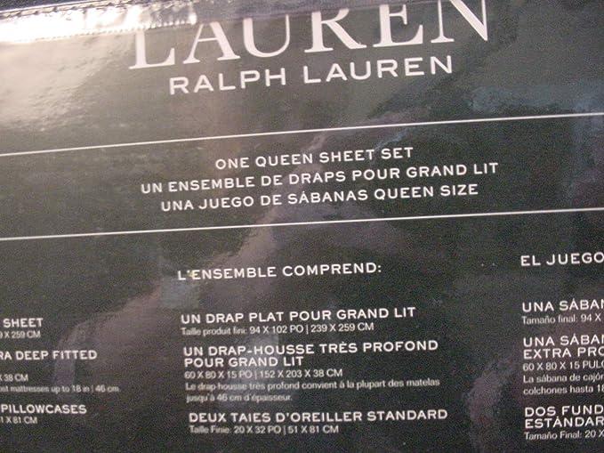 Amazon.com: Lauren by Ralph Lauren Gray Medallion on White Print Sheet Set Queen: Home & Kitchen