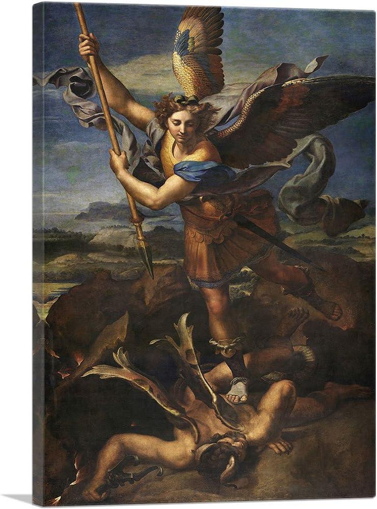 Amazon Com Artcanvas St Michael Vanquishing Satan 1518 Canvas Art Print By Raphael 40 X 26 0 75 Deep Posters Prints