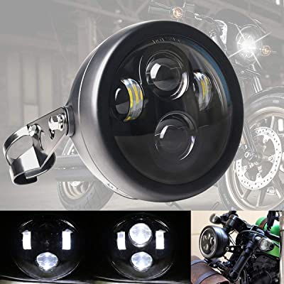 DDUOO 5-3/4 5.75inch LED Motorcycle Headlight with Headlight Housing Black Motorcycle Headlamp Assembly for Honda Shadow Cafe Racer Bobber: Automotive