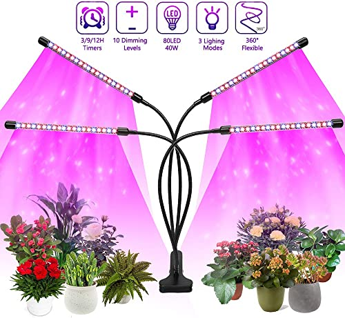 Felibeaco Plant Grow Light Indoor ,4 Head LED Growing Lamp for Indoor Plants, 80W Full Spectrum Plant Lights with Auto ON Off Timer, 10 Dimmable Brightness ,360 Flexible Gooseneck, 3 Switch Modes